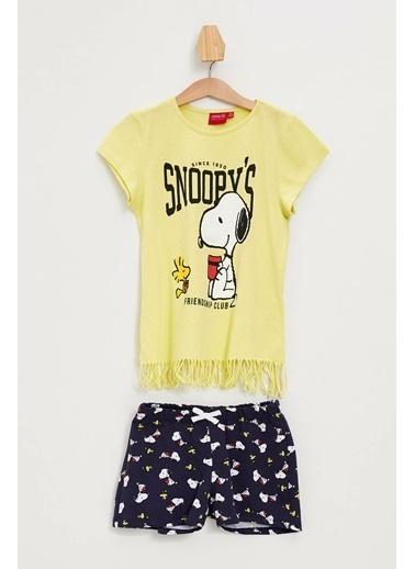DeFacto Snoopy Lisanslı Şortlu Pijama Takımı Sarı